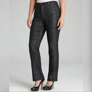 NYDJ Snakeskin Straight Leg Stretch Jeans Plus